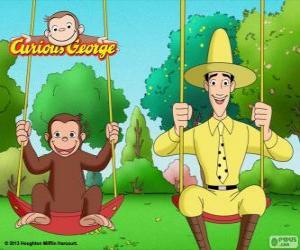 Puzle George monkey se svým přítelem Ted, muž ve žlutém klobouku