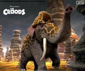 Puzle Girelephant z Croodsovi, kříženec žirafa a slon