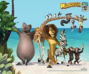 Puzle Gloria Hippo, Melman žirafa, lev Alex, zebra Marty s dalšími protagonisty dobrodružství
