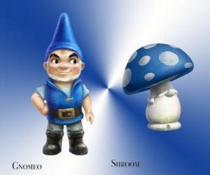 Puzle Gnomeo je hezký a hrdý Blue Garden Gnome, spolu s jeho loajální a věrný společník omítky Houbová Shroom