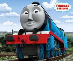 Puzle Gordon, modrý stroj s číslem 4, expresní vlak