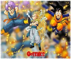 Puzle Gotenks, jedna z nejmocnějších znaků vytvořené fúzí mezi syn Goten a Trunks