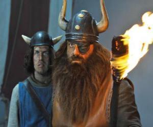Puzle Halvar, Vicky je otec a vůdce Vikingů v obci Desky s jeho ok