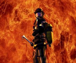 Puzle Hasič před ohněm