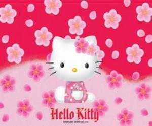 Puzle Hello Kitty s květinami