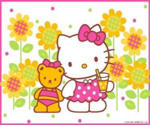 Puzle Hello Kitty s pitím v přírodě se svým plyšovým medvědem Tiny Chum