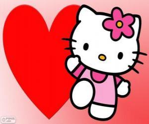 Puzle Hello Kitty s velkým srdcem
