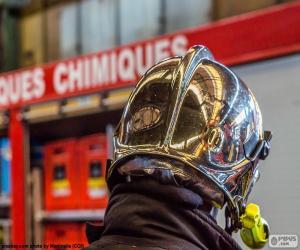 Puzle Helma hasič chromovaný