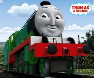 Puzle Henry, dlouhé a rychlé zelenou lokomotiva číslo 3
