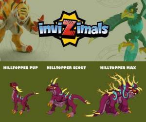 Puzle Hilltopper ve třech fázích Hilltopper Pup, Hilltopper Scott a Hilltopper Max, Invizimals