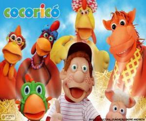 Puzle Hlavní postavy na farmě Cocorico