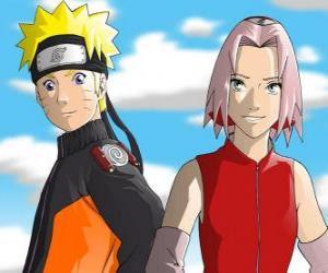 Puzle Hlavními postavami Naruto Uzumaki a Sakura Haruno úsměvem