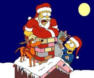 Puzle Homer a Bart Simpson pomohl Santa Claus s dárky