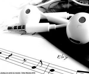 Puzle Hudba na notovém papíře jsem sluchátka