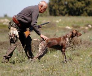 Puzle Hunter se svým psem na lovu