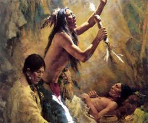 Puzle Indiáni v tradičním rituálu, vyvolání duchů