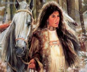 Puzle Indická dívka s koněm