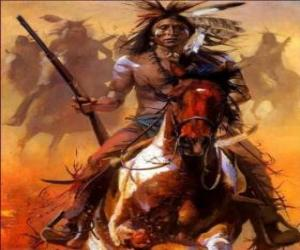 Puzle Indický bojovník na koni napříč