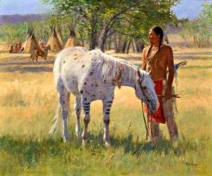 Puzle Indický bojovník s koněm v blízkosti tábora