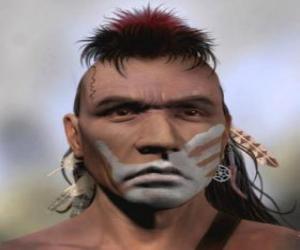Puzle Indický bojovník se svým pomalovaným obličejem
