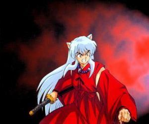 Puzle Inuyasha, napůl-zloduch z feudálního Japonska, kde žije vzrušující dobrodružství