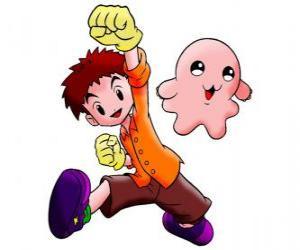 Puzle Izzy s jeho Digimon Motimon. Koushiro Izumi je velmi inteligentní člověk