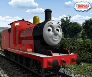 Puzle James, nádherné lokomotivy číslo 5 v červené barvě