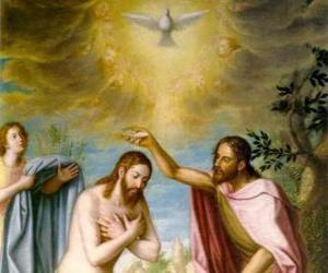 Puzle Ježíš je pokřtěn John the Baptist v řece Jordánu