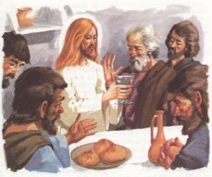 Puzle Ježíš požehnal chléb a víno při poslední večeři
