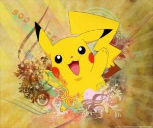 Puzle Je to myš Pokémon žlutý, elektrické typu.