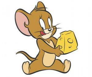 Puzle Jerry jíst lahodný kousek sýra