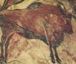 Puzle Jeskynní malba představující buvola na zdi jeskyně