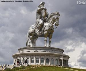 Puzle Jezdecká socha Čingischána, Mongolsko