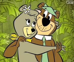 Puzle Jogín a Cindy, dva milenci v parku nese Jellystone