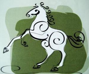 Puzle Kůň, znamení koně, Rok koně v čínské astrologii. Sedmý zvířat čínského zvěrokruhu