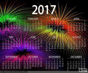Puzle Kalendář 2017, šťastný nový rok