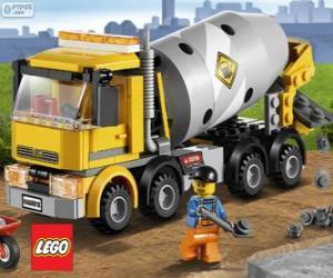Puzle Kamion míchačka na beton a stavební dělník, Lego City