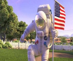 Puzle Kapitán Charles Chuck Baker, zatloukání americkou vlajku přistát na Planet 51