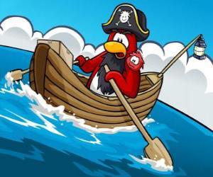Puzle Kapitán Rockhopper a jeho mazlíček v jeho člunu v Club Penguin