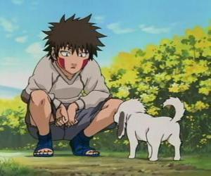 Puzle Kiba Inuzuka a jeho pes a nejlepší přítel Akamaru jsou součástí týmu 8