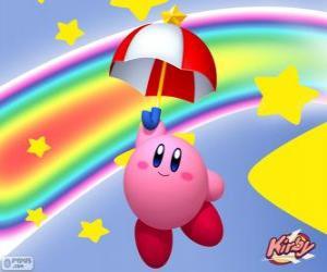 Puzle Kirby s deštníkem létání mezi hvězdami a duha
