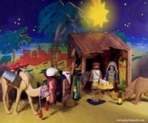 Puzle Klanění tří králů od východu k Jezulátku