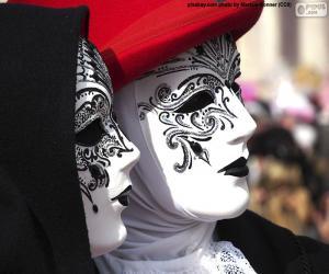 Puzle Klasické bílé benátské masky