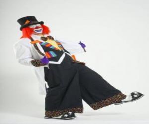 Puzle Klaun s plnou klaunský kostým, klobouk, paruka, rukavice, kravaty, kalhoty velké a velké boty