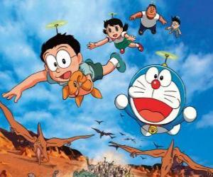 Puzle Kočka Doraemon se svými přáteli Nobita, Shizuka, Suneo a Takeshi