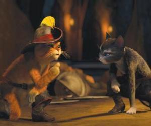 Puzle Kocour v botách rozhovoru s Kitty