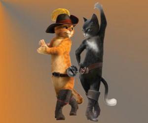 Puzle Kocour v botách tančí s Kitty kočka