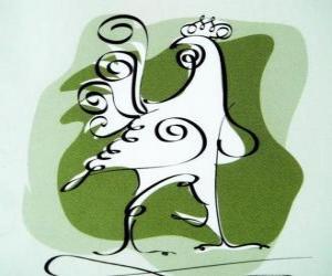 Puzle Kohouta, znamení kohouta, Rok kohouta v čínské astrologii. Desátý čínského horoskopu zvíře