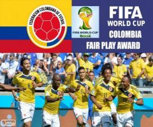 Puzle Kolumbie, cenu Fair Play. Brazílie 2014 mistrovství světa ve fotbale