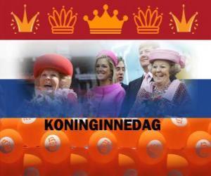 Puzle Koninginnedag nebo Královna má den, národní svátek v Nizozemí 30. dubna na oslavu narozenin královny